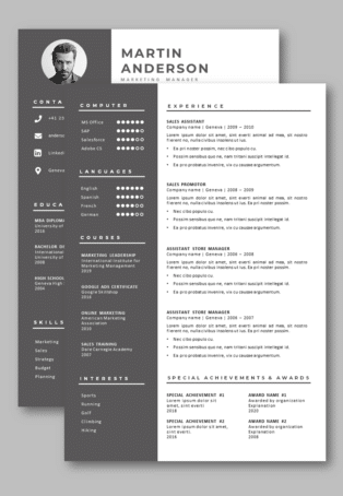 Word CV second page