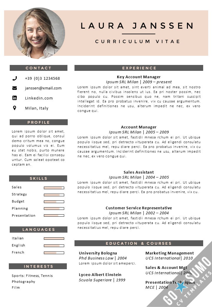 cv template in english