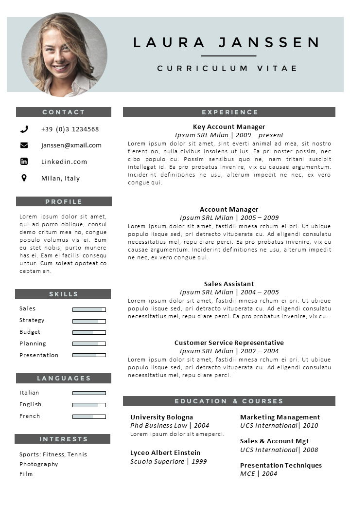 CV-Template-Milan-Blue Cv Template For Job Application on to write, what is, letter format, form for, form printable for sports, print out, sample words,