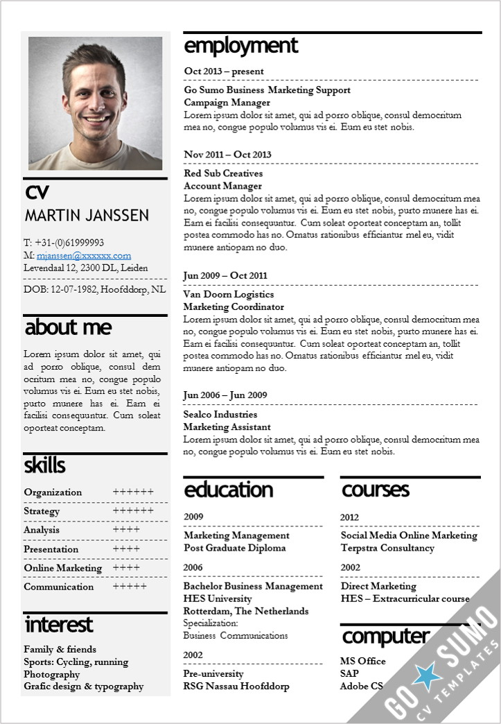 Cv template kopenhagen go sumo cv template for Resmue templates
