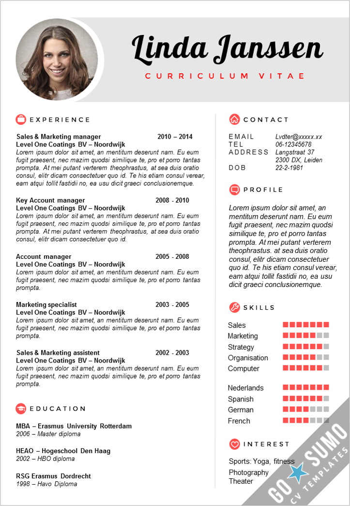 Cv template madrid go sumo cv template for Reseume templates