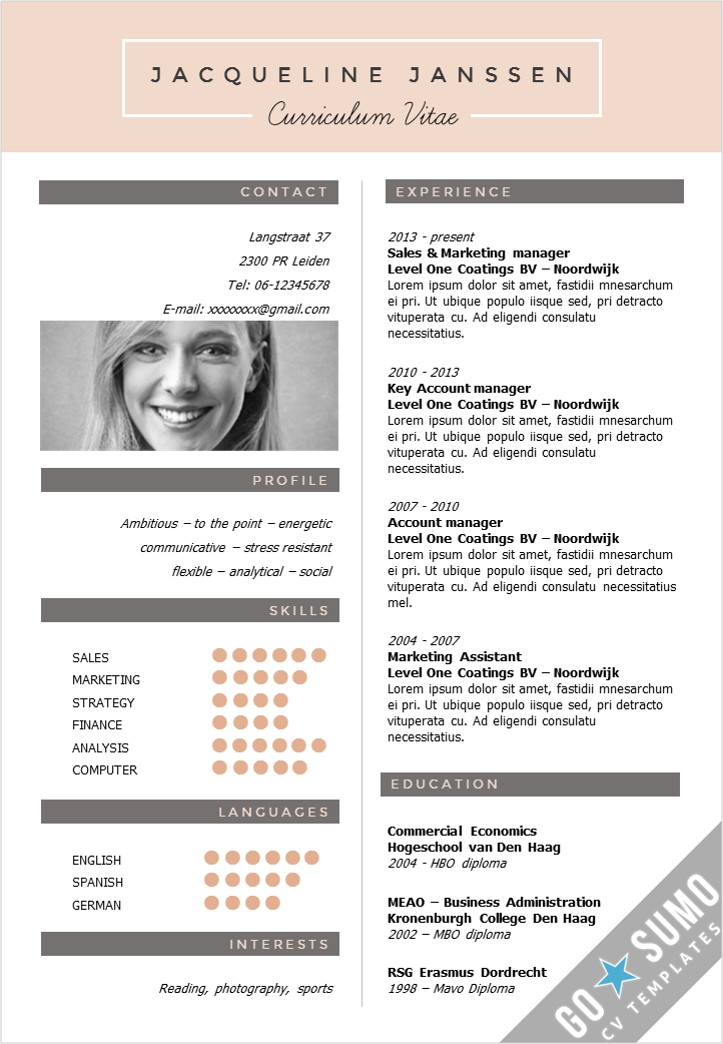 German Style Cv Template In English