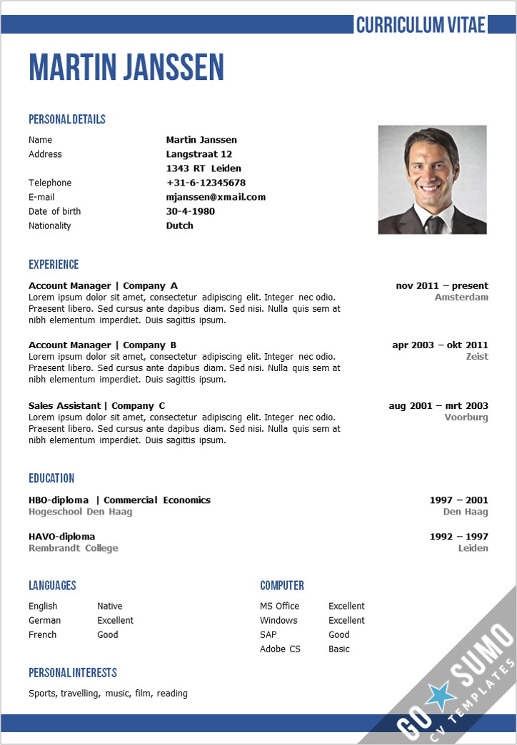 cv template word CV Template Oxford   Go Sumo cv template