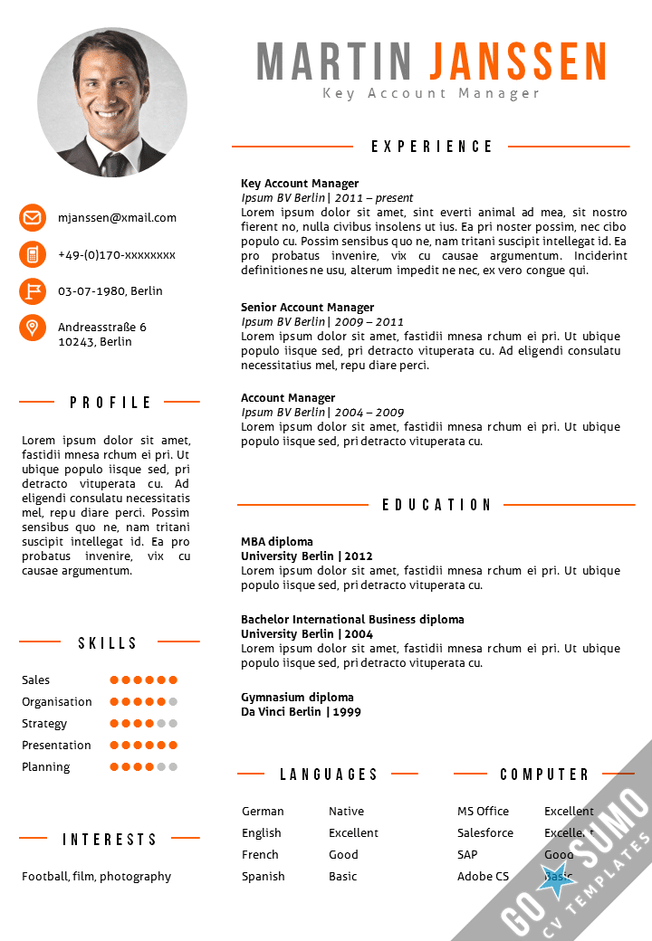 CV Template Berlin - Go Sumo cv template