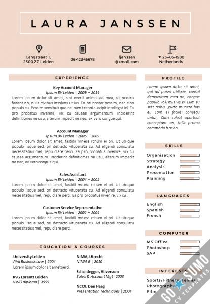 CV / Resume templates Tokyo