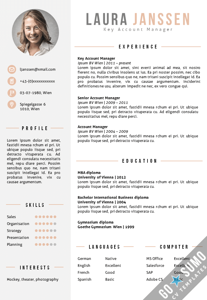 Cv template vienna go sumo cv template for Reseume templates