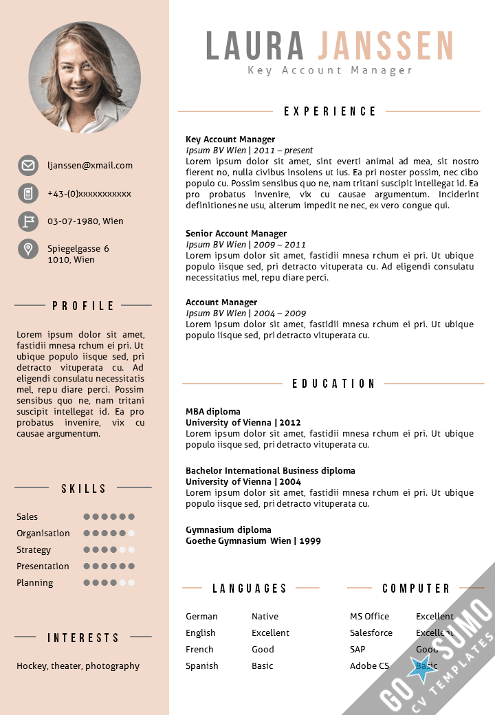 Cv template vienna go sumo cv template for Reseume template