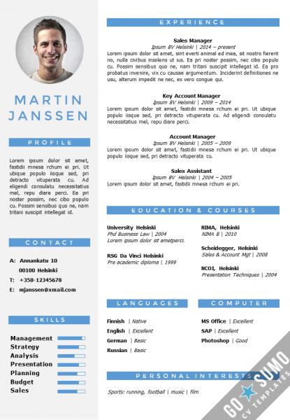 cv resume template Word