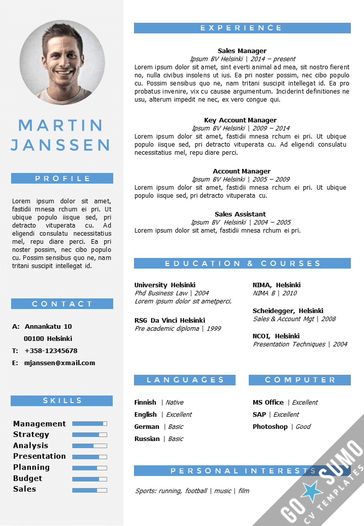 cv resume template helsinki docx pptx gosumo. Black Bedroom Furniture Sets. Home Design Ideas