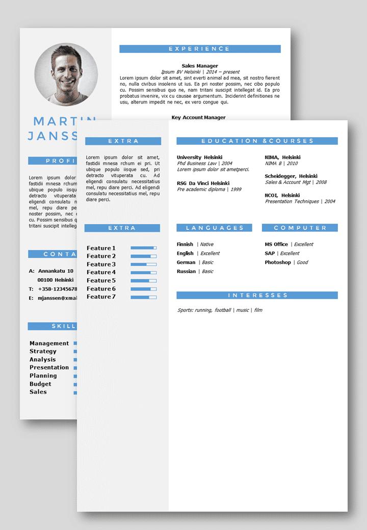 cv resume template helsinki  docx   pptx