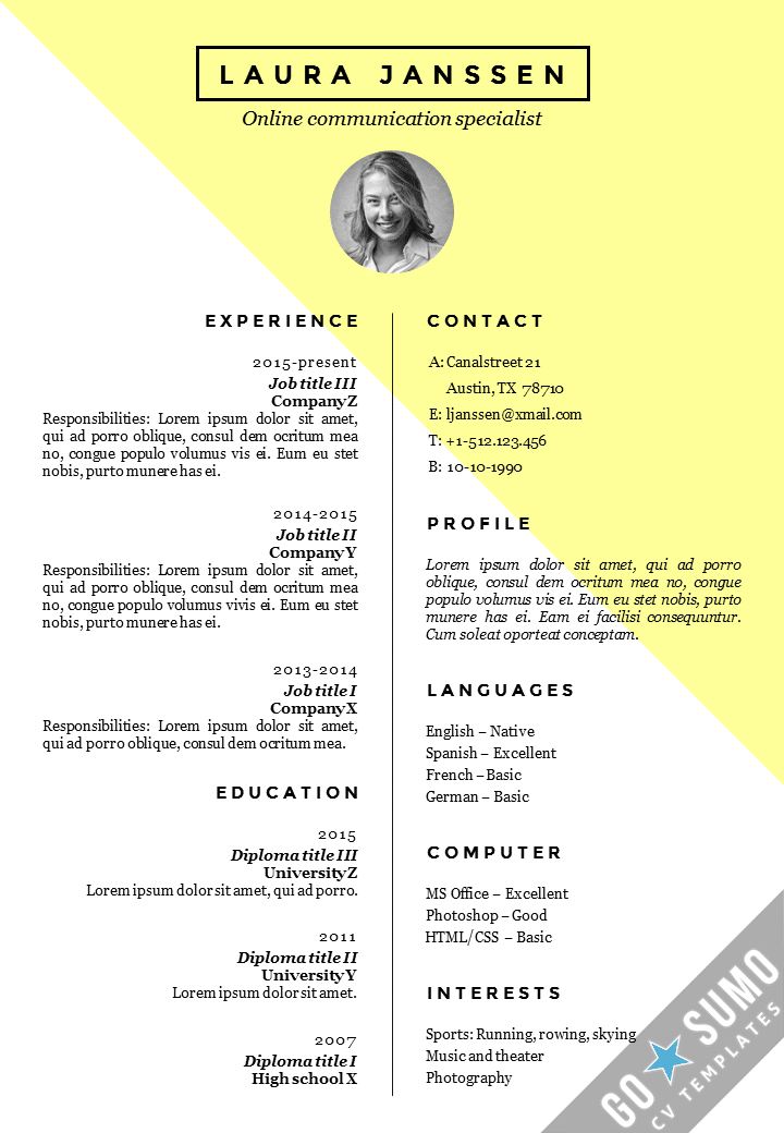 cv template stockholm - Resume Template For Word