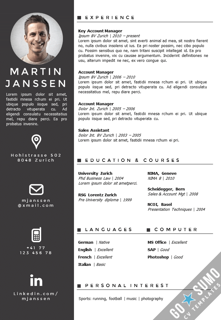 Cv template zurich for Reseume template