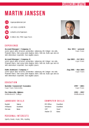 cv template MS Word red