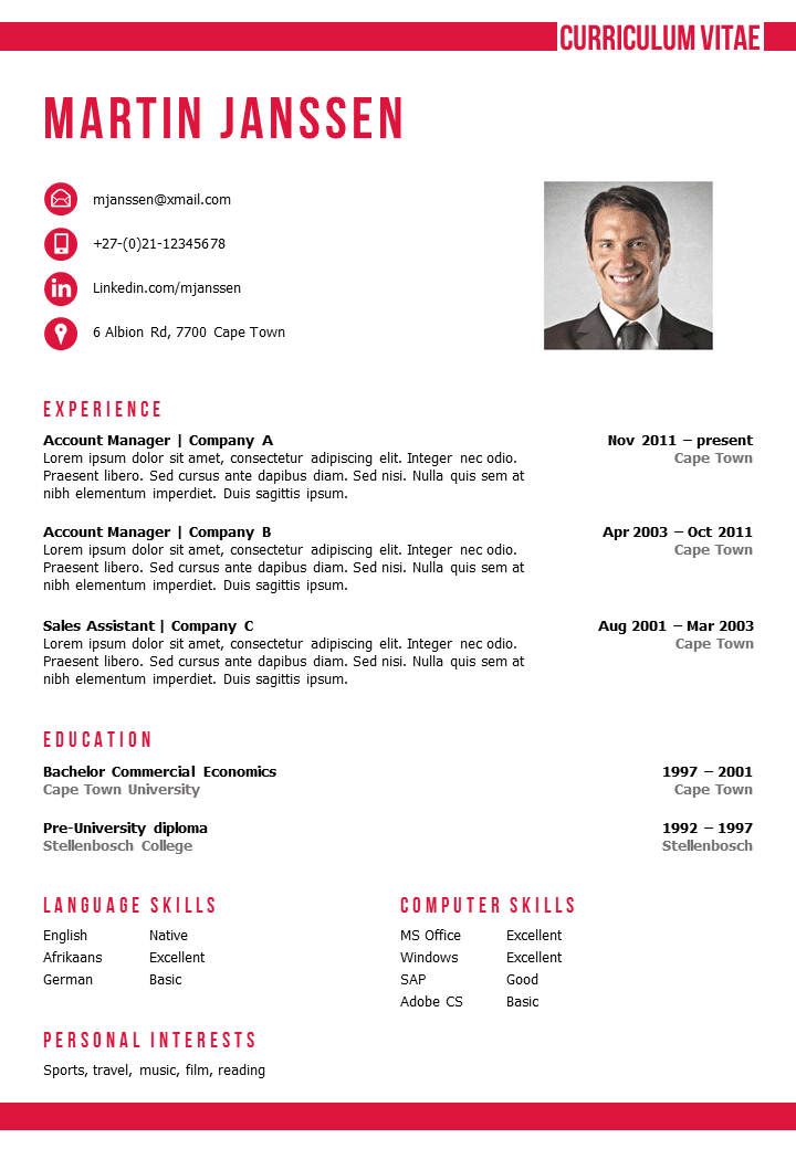 Cv template cape town for How to make a cv template on microsoft word