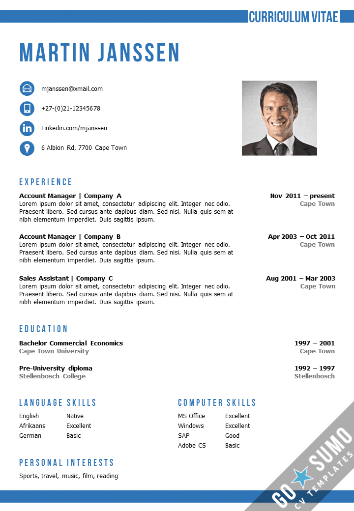 Cv template cape town for Reseume templates