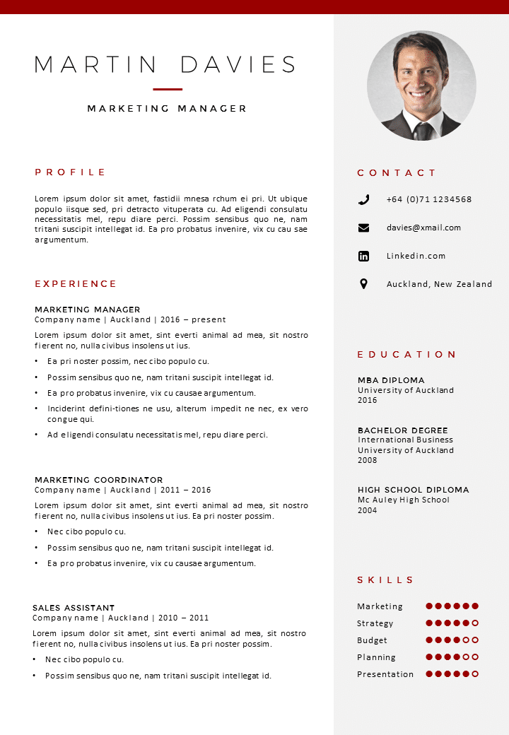 Cv template auckland gosumo cv template for Reseume templates