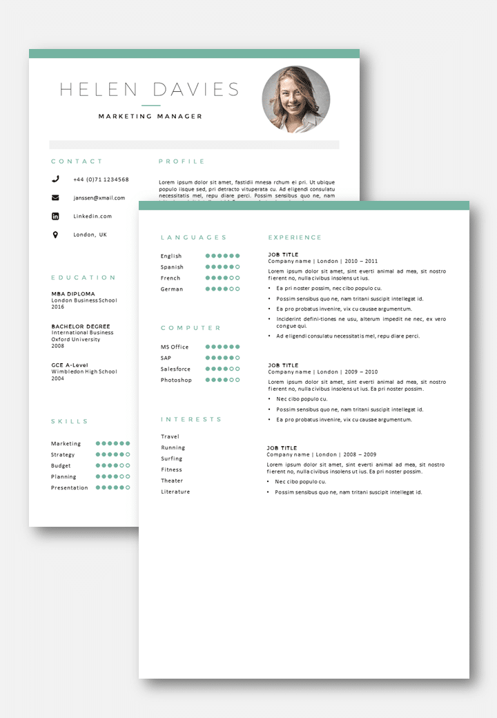 Bien connu CV Template London - CV + Cover letter template in Word GC08