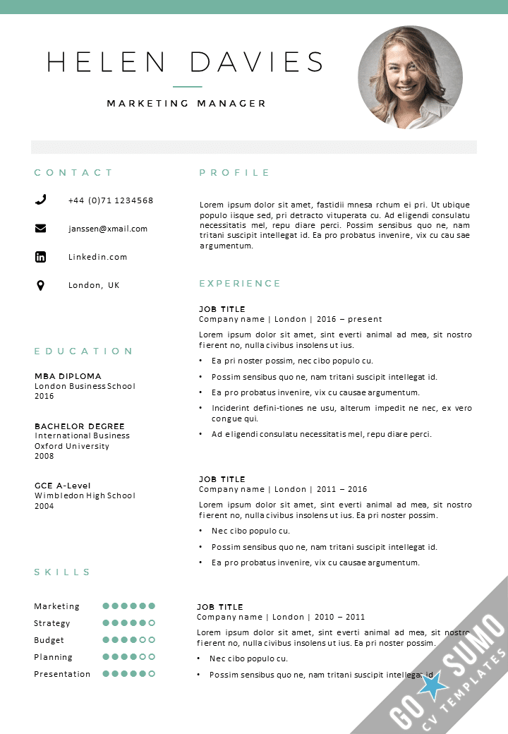 Cv template london cv cover letter template in word for Reseume template