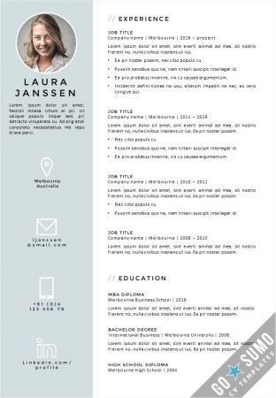 CV Resume Template Melbourne