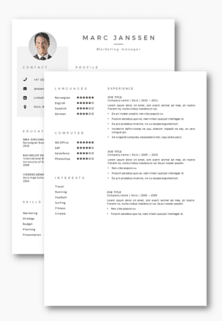 CV resume template Oslo second page