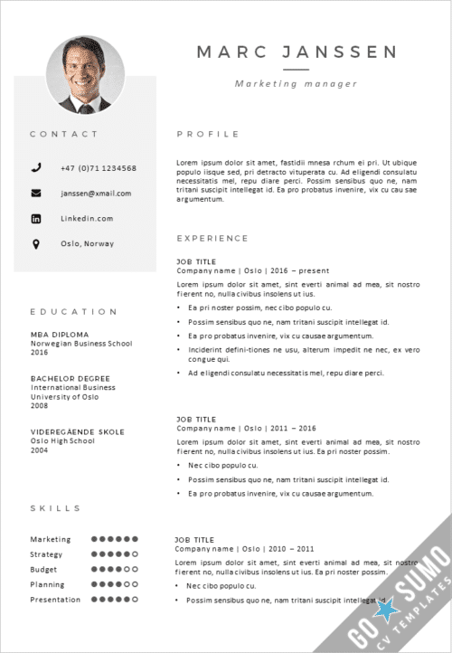 CV Resume template Oslo