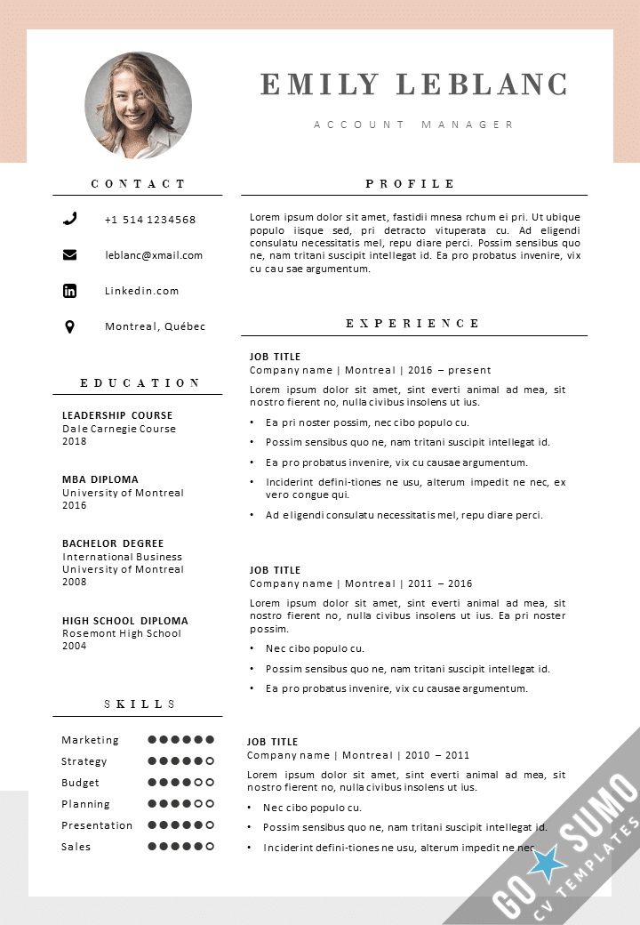 new cv template montreal