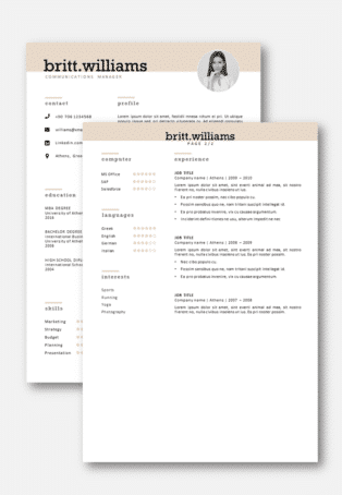 Elegant cv template second page