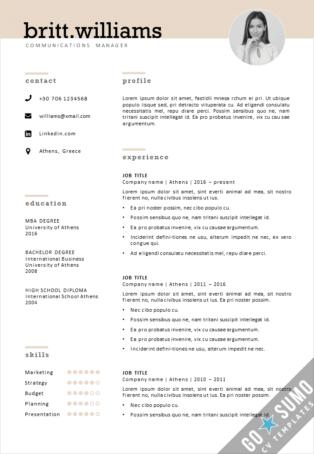 Elegant CV template for Word