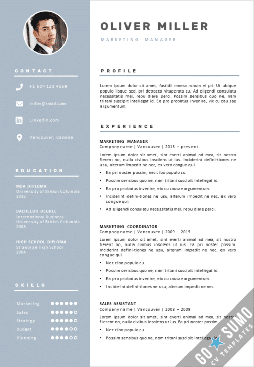 Marketing CV Template Vancouver