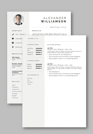 Second page template Word Curriculum Vitae