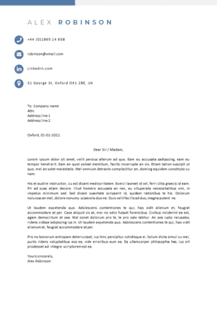 Example cover letter template matching cv template Oxford
